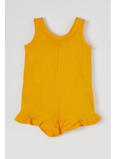 DeFacto Kız Bebek Kolsuz Fırfırlı Kısa Tulum Sarı